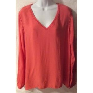 Old Navy Women's Orange Top V-Neck Long Sleeve